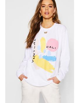 Abstract Print Long Sleeve T Shirt by Boohoo