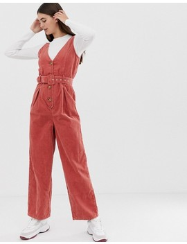 Asos Design Tall Cord Button Through Belted Jumpsuit In Red Brick by Asos Design