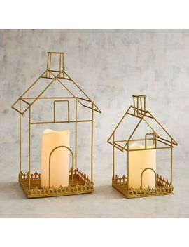 Golden House With Led Flameless Candle by Pier1 Imports