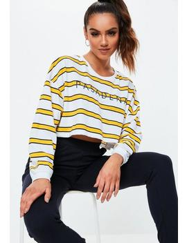 Yellow Stripe Pasadena Oversized Cropped T Shirt by Missguided