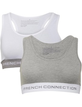 French Connection Womens Two Pack Crop Top Grey/White by French Connection