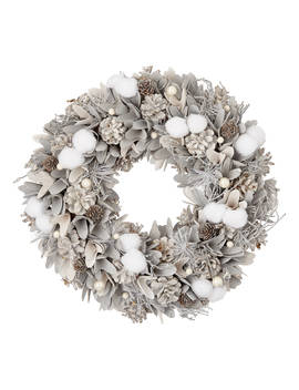 John Lewis & Partners Moonstone Snowball And Pearl Wreath, White by John Lewis & Partners