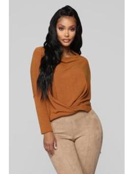 Can't Sit Still Top   Camel by Fashion Nova