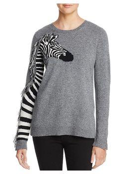 Zebra Fringed Cashmere Sweater   100 Percents Exclusive by Aqua Cashmere