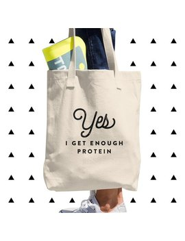 Yes, I Get Enough Protein Tote Bag, Vegan, Vegetarian, Plant Based, Foodie, Healthy, Vegan Humor, Gift, Made In Usa, American Apparel by Etsy