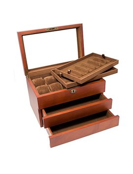 Caddy Bay Collection Solid Wood Watch Box With 2 Removable Watch Band Strap Tray, Holds 10+ Watches, 12+ Watch Bands, Glass Top, High Clearance, Vintage Brown by Caddy+Bay+Collection