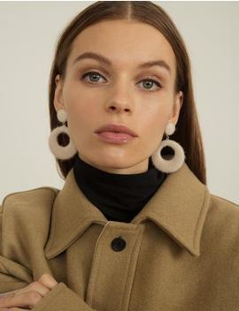 Ivory Furry Hoop Earrings by Pixie Market