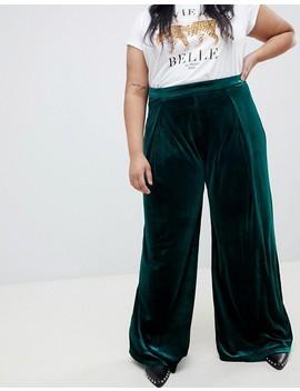 Glamorous Curve   Pantalon Large à Taille Haute En Velours Luxueux by Glamorous