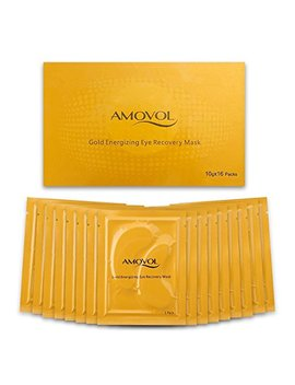 Collagen Eye Mask 24 K Gold Reduce Dark Circles And Puffiness Eye Treatment Pads Eye Patches With Anti Aging And Wrinkle Care Properties, Christmas Gifts For Women & Men (16 Pairs) by Amovol