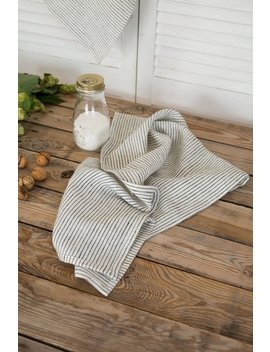 Linen Dish Towels, Kitchen Towels Set, Natural Linen Hand Towels, Striped Tea Towel, Modern Farmhouse, Stonewashed Linen, Natural Towel by Etsy