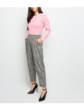 Petite Grey Check Jersey Pull On Trousers by New Look