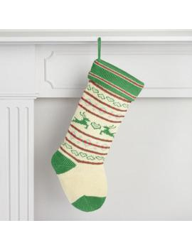 Red And Green Reindeer Knit Holiday Stocking by World Market