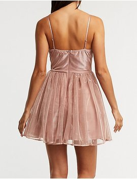 Metallic Wrap Skater Dress by Charlotte Russe