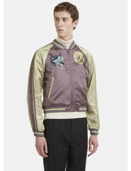 Embroidered Reversible Bomber Jacket In Grey by Gucci