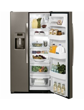 25.4 Cu. Ft. Side By Side Refrigerator With Thru The Door Ice And Water   Slate by Ge