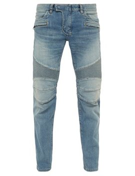 Tapered Ribbed Inset Biker Jeans by Balmain