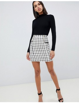 Lipsy 2 In 1 Dress With Checked Skirt In Mono by Lipsy