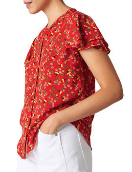 Whistles Peony Print Top, Red by Whistles