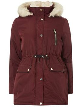 Dorothy Perkins   Petite Berry And Cream Parka by Dorothy Perkins