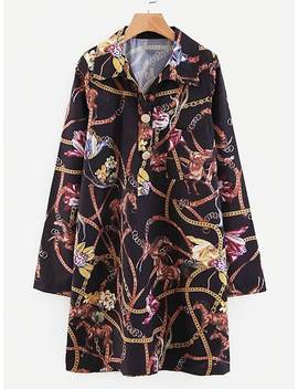 Rope Print Shirt Dress by Sheinside