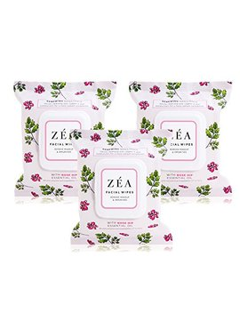 Zea Makeup Remover Wipes Infused With Rose Hip Essential Oil | Alcohol Free | Paraben Free | 30 Wipes Per Package | 3 Packages Total by Zea