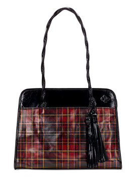 Paris Tartan Plaid Leather Satchel by Patricia Nash