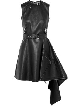 Asymmetric Textured Leather Mini Dress by Alexander Mc Queen