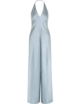 Halterneck Crinkled Satin Wide Leg Jumpsuit by T By Alexander Wang