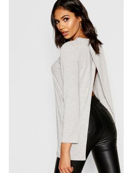 Split Open Back Long Sleeve T Shirt by Boohoo