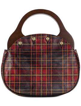Varazza Tartan Plaid Reversible Wood Handle Leather Satchel by Patricia Nash