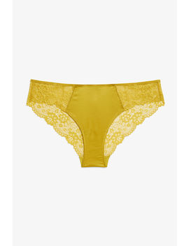 Satin And Lace Briefs by Monki