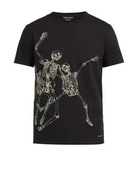 Dancing Skeleton Print T Shirt by Alexander Mc Queen