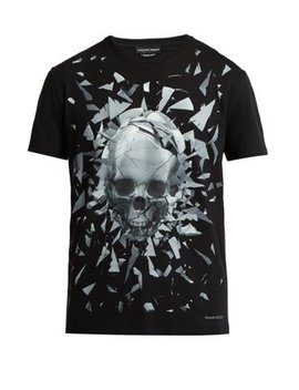 Shattering Skull Print T Shirt by Alexander Mc Queen