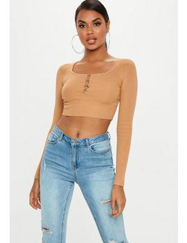 Camel Hook And Eye Knitted Crop Top by Missguided