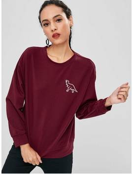 Crew Neck Dinosaur Sweatshirt   Red Wine M by Zaful