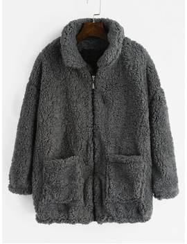Fluffy Faux Fur Winter Teddy Coat   Gray M by Zaful