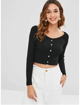 Buttons Embellished Crop Knitted Top   Black S by Zaful