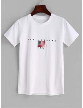 Flag Embroidered T Shirt   White by Zaful