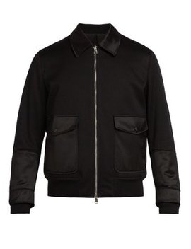 Satin Trim Cotton Bomber Jacket by Alexander Mc Queen