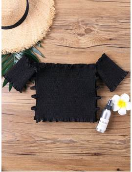 Off Shoulder Smocked Cut Out Crop Top   Black L by Zaful