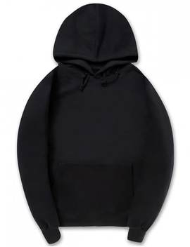 Solid Color Kangaroo Pocket Fleece Pullover Hoodie   Black S by Zaful