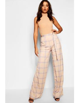 Tall Check Wide Leg Tie Waist Trouser by Boohoo