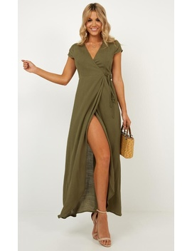 Paradise Looks Dress In Khaki Linen by Showpo Fashion