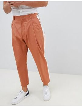 Noak Wide Leg Smart Pants In Camel With Side Stripe by Noak