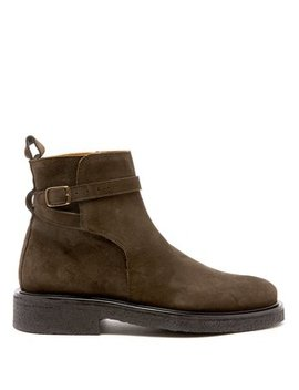 Buckle Strap Suede Boots by Ami
