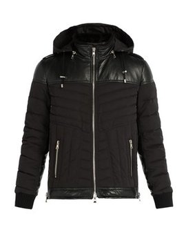 Padded Perforated Leather And Nylon Jacket by Balmain