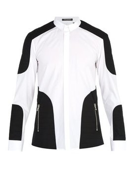 Quilted Panelled Cotton Poplin Shirt by Balmain