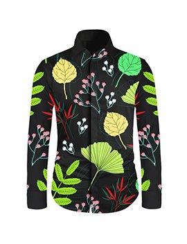Men's Flower Floral Casual Shirt Long Sleeve Dress Hawaiian Shirt by Yunclos