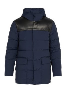 Leather Panel Wool Blend Down Jacket by Bottega Veneta