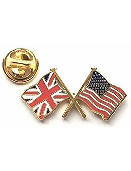 Union Jack & Usa Flags Friendship Enamel Lapel Pin Badge by Emblems Gifts